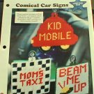Comical Car Signs - Plastic Canvas Pattern in EXCELLENT Condition