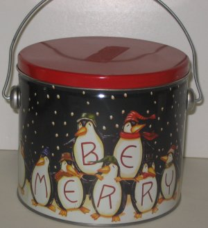 """Be Merry"" 15 Penquins Bucket Tin"