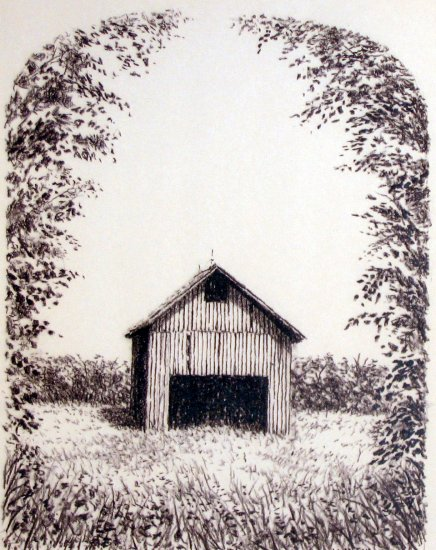 A Barn Drawing by Artist Martin L. Klein