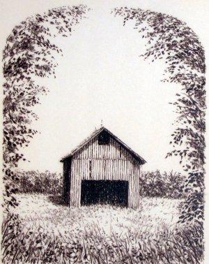 A Barn Drawing by Artist Martin L. Klein