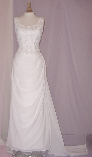 NEW ELEGANT CHIFFON EMBROIDERED WHITE 2-PCS WEDDING DRESS BRIDAL GOWN SIZE 12