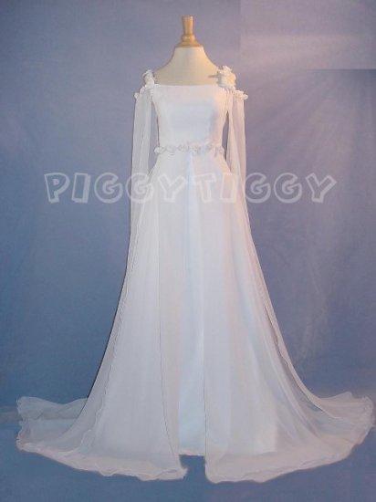 BRAND NEW ROMANTIC RENAISSANCE STYLE CHIFFON WEDDING DRESS GOWN SIZE 10