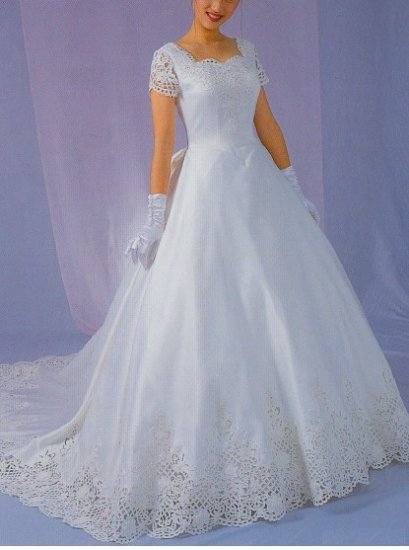 NEW STUNNING BATTENBERG LACE WEDDING GOWN BRIDAL DRESS SIZE 14