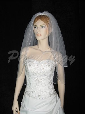 "2 Tier White Bridal Wedding Veil Elbow Length 1/8"" Satin Edge Pearl Accents Wedding Veil V109wt"
