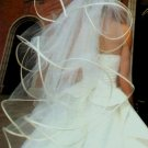 4 Tier White Wedding Bridal Veil Fingertip Length Wedding Dress Tiara V111wt