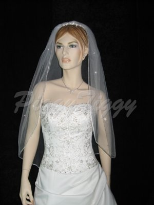1 Tier White Bridal Fingertip Length Swarovski Crystal Accents Wedding Veil V113wt