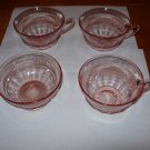 ANCHOR HOCKING CORONATION PINK DEPRESSION CUPS &SHERBET