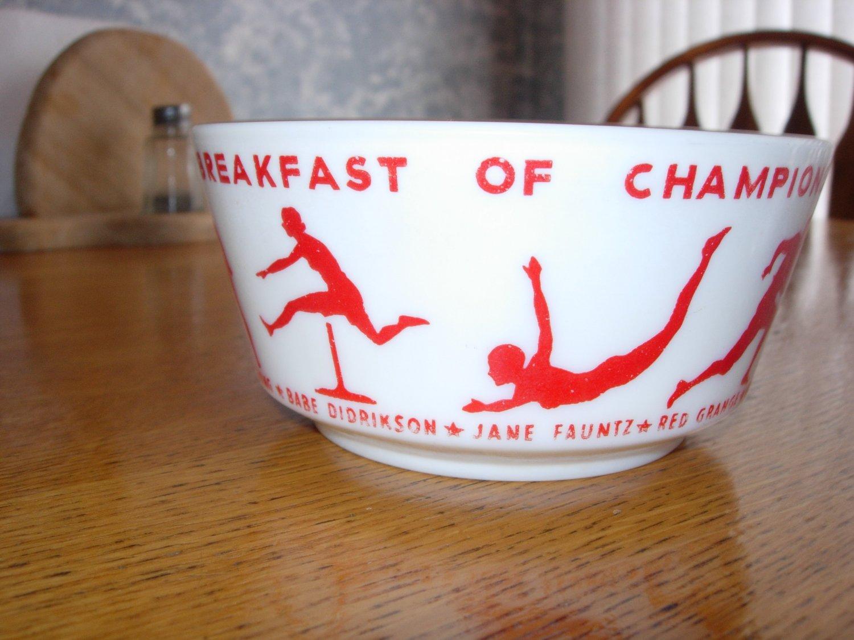 Wheaties Breakfast Of Champion  Bowl 1930's,