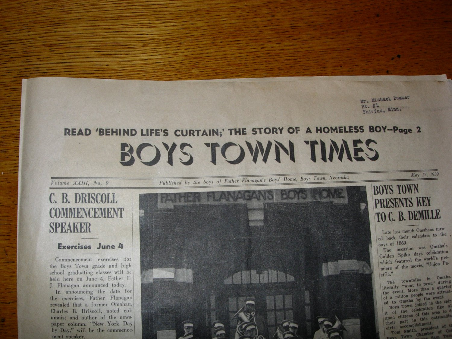1939 Boys Town Times Newspaper