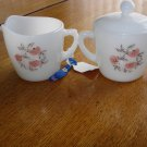 Anchor Hocking Fire King Fleurette Cream & Sugar Bowl