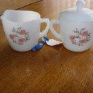 Anchor Hocking Fire King Fleurette Cream & Sugar Bowl