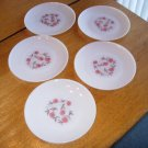 Set of 5 Anchor Hocking Fire King Fleurette Dinner Plates