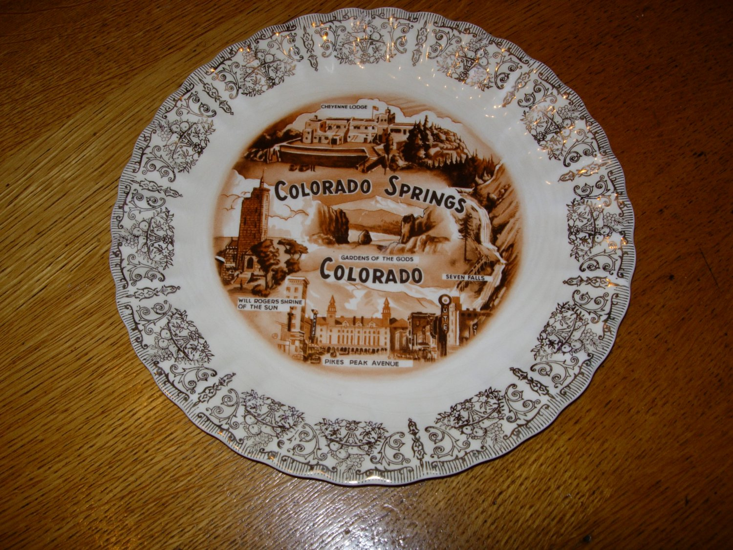 1940 39 s colorado springs collector plate with gold trim for Jewelry supply colorado springs