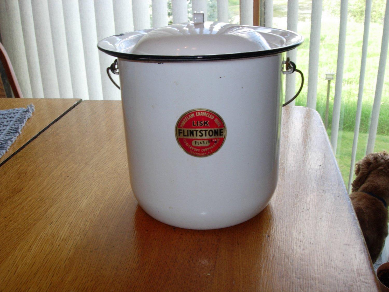 Antique LISK FLINTSTONE Porcelain Enamelware Chamber Pot Bucket with Lid and Original Label