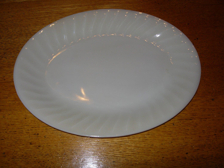 Anchor Hocking Fire King White Swirl Serving Platter