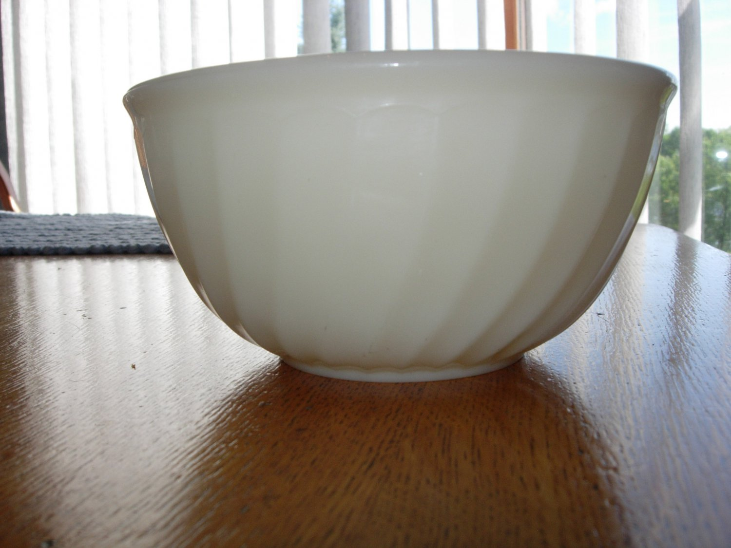 """Early 1940's Fire-King Ivory 7"""" Swirl Bowl-marked Fire-king Oven Glass"""