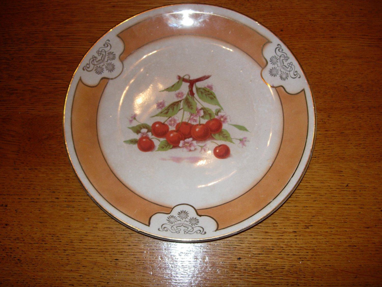 Vintage D.E. McNicol China Diner Plate with Cherry Design Clarksburg W Va