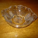 Vintage Swirled Clear Glass Handled Candy Bowl
