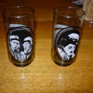 Pair of 1979 Arby's Collector Series Smoke Colored Glasses-Chaplin, Abbott and Costello