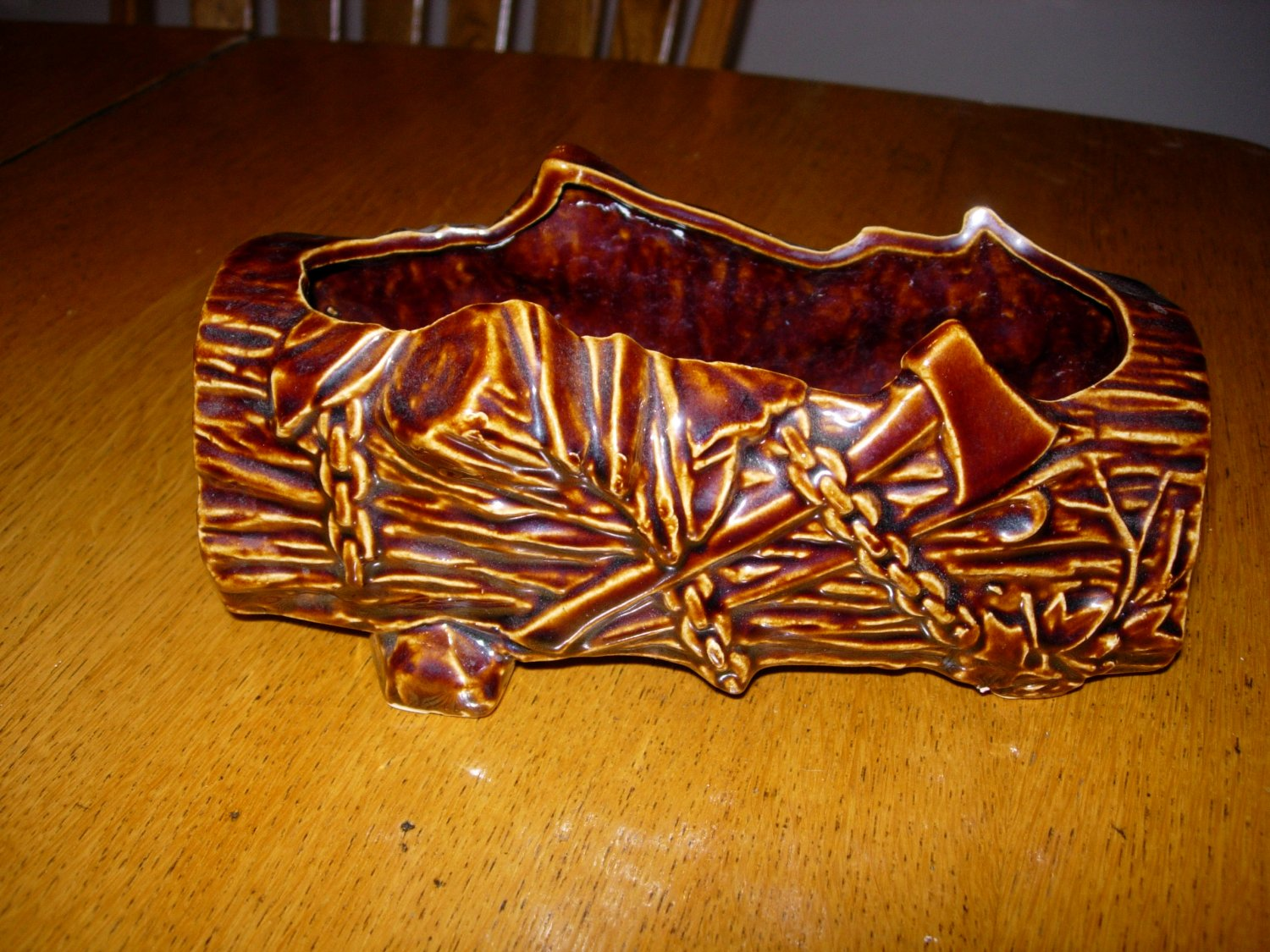 Vintage McCoy USA Tree Stump Log Planter Brown Glaze with Chains Cross Cut Saw Ax Axe Hatchet