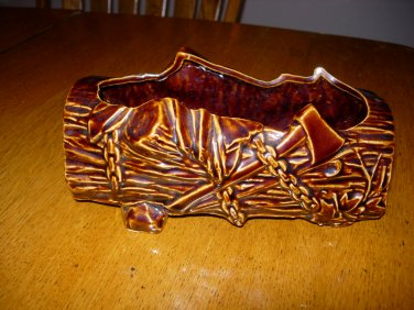 Vintage McCoy USA Tree Stump Log Planter Brown Glaze with Chains Cross Cut Saw Ax Axe Hatchet