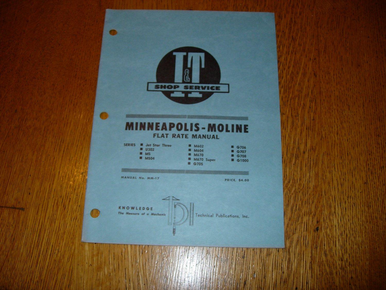 I & T Shop Service Minneapolis Moline Flat Rate Manual