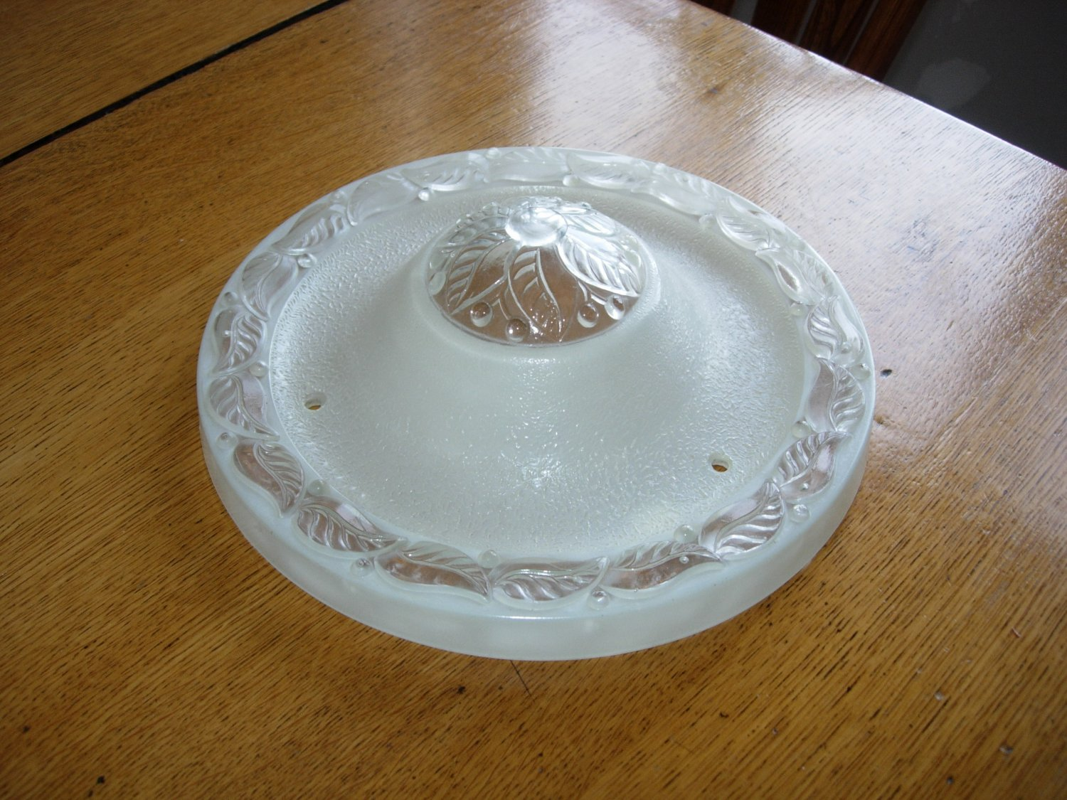 Vintage Art Deco 3 Chain Ceiling Light Shade with Embossed Flower Pattern