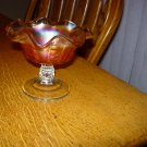 Vintage Dugan Coin Spot Marigold Carnival Glass Compote
