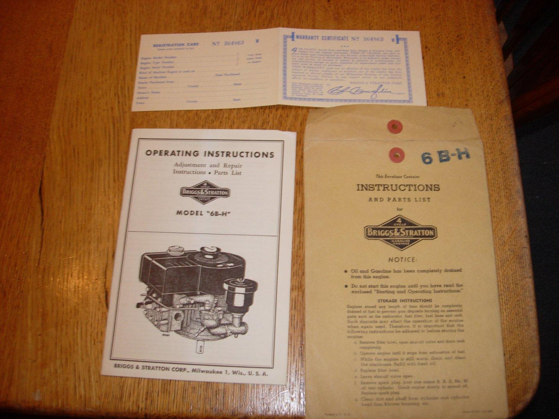 Vintage Briggs & Stratton Model 6B-H Operating Instruction Manual