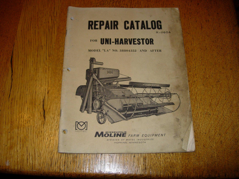 Vintage Minneapolis Moline Uni-Harvestor Repair Catalog Model LA