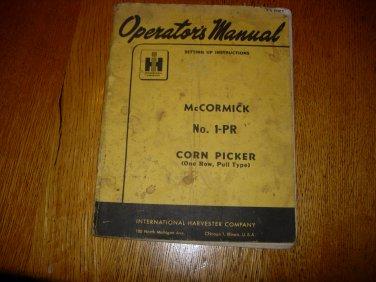 McCormick No 1-PR Corn Picker Operators Manual