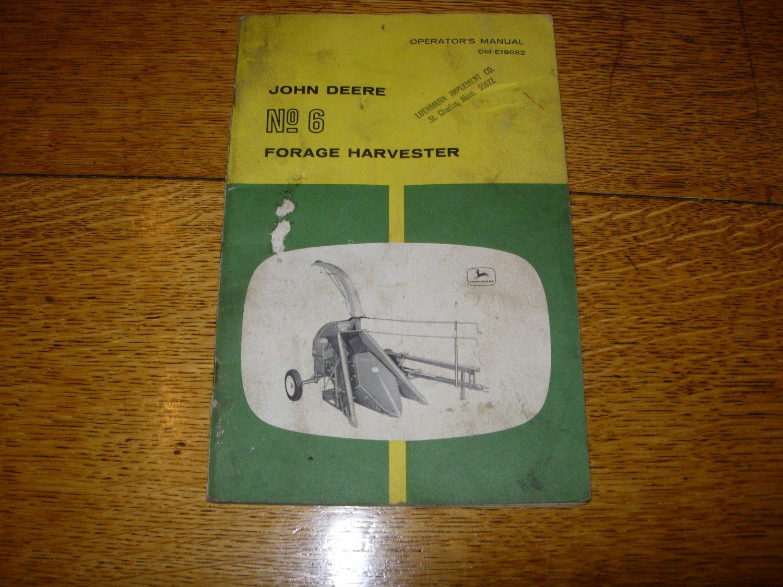 John Deere No 6 Forage Harvester Owners Manual