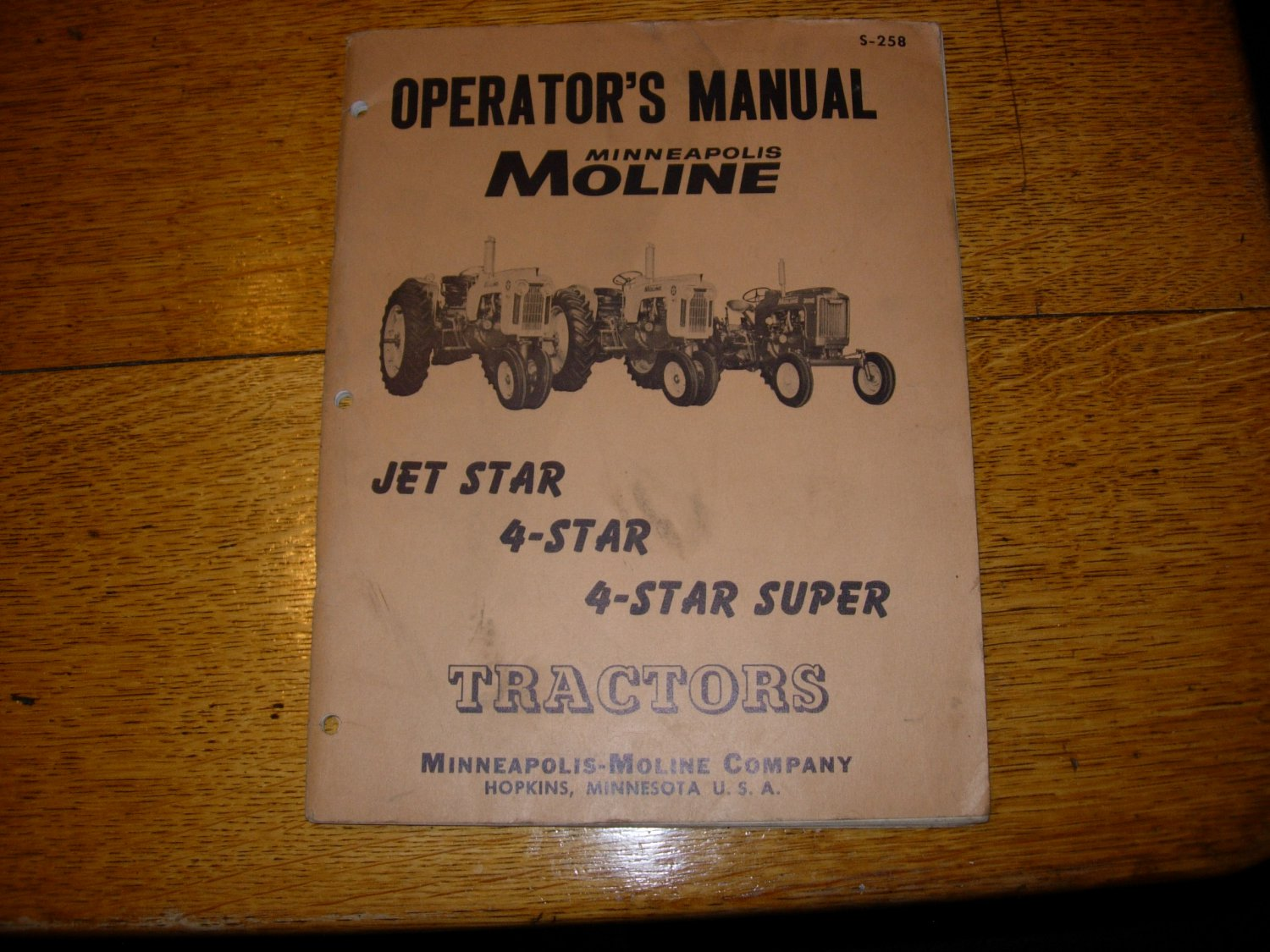 Vintage Mpls Moline Jet Star, 4 Star Operators Manual-dated 1959