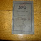 1922 Original Ford Model T Price List of Parts Catalog