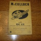 1958 McCulloch Model MAC D30 Chainsaw Operation Manual
