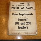 Vintage McCormick IH Farm Implements for Farmall 200/230 Tractors Parts Catalog