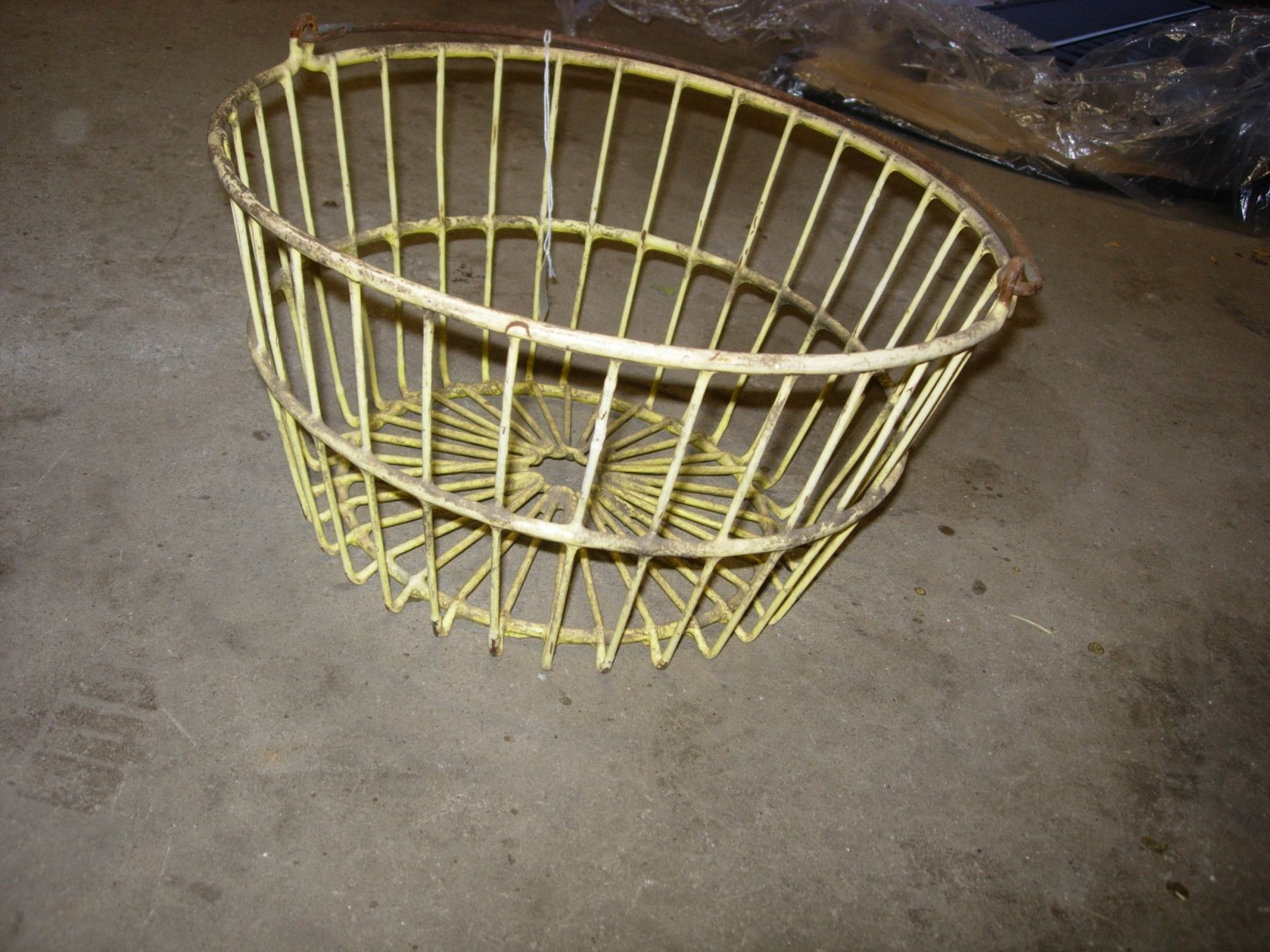 Antique Primitive Yellow Coated Wire Egg Basket