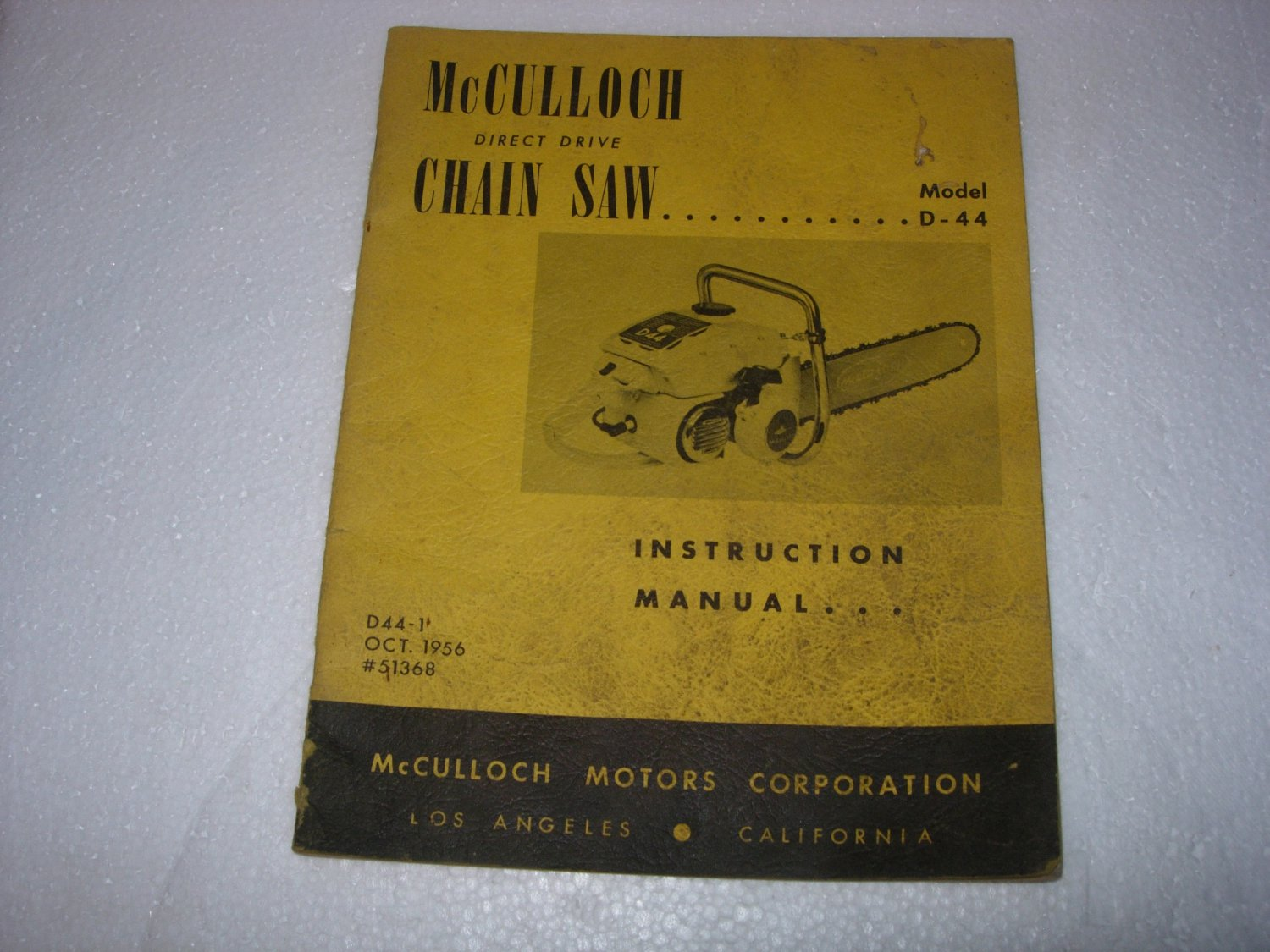 1956 McCulloch Model  D44 Chainsaw Operation Manual