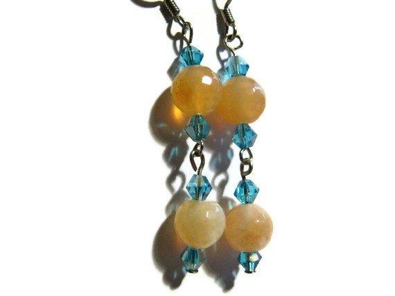 Orange and aquamarine artisan earrings dangle from surgical steel  earwires ID AA102