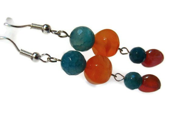 Carnelian orange artisan dangle earrings with turquoise agate gemstones and mirror hearts  ID CA157