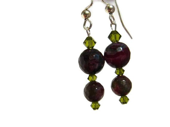 Grape purple earrings of fired faceted agate handmade artisan on surgical steel ear wires ID AA155