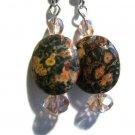 Handcrafted earrings oval leopard skin jasper grey and pink