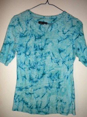 DUNIA Brand Aqua Blue Tye-Dye Pattern Shirt Top Women's Petite Size Small P/S