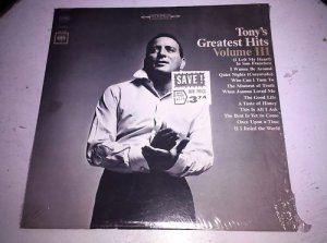 "Tony's Great Hits Volume III Columbia 12"" Vinyl Record LP C 2373 VG+/NM"