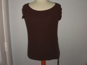 FOREVER 21 Dark Brown Cap Sleeve Women's Wide Neck Blouse Casual Shirt Pre-owned