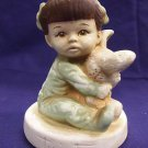 TWINTON Vintage 1972 Little Baby Girl & Easter Bunny Rabbit Figurine T-5 RARE