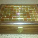 """Beautiful Handmade Carved Wooden Jewelry Trinket Box With Inlaid Tiles, 7"""" Long"""