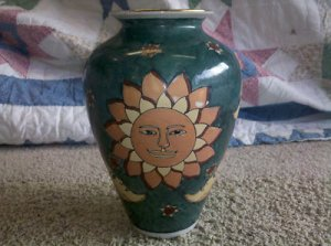 "Beautful Asian Art Sun & Moon Celestial Glazed Ceramic Art Pottery, 10.5"" Vase"