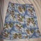 OLD NAVY Blue Hawaiian Style Stretch Skirt Aloha Striped Trim Women's Size 4 EUC