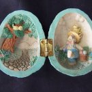 Decorative Hinged Easter Egg Vintage Handpainted Clay Figure w/ Bunny & Chicks
